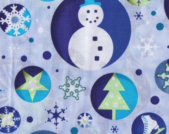 Blue Snowman And Snowflake Cotton Fabric (Last Chance)