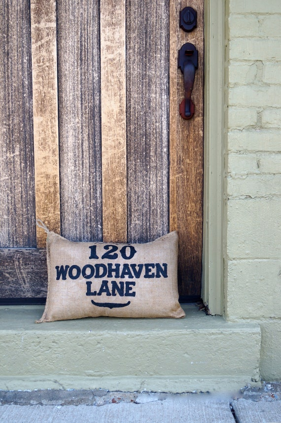 Burlap Charley Address Pillow