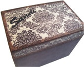 Recipe Box, Wood Recipe Box, Decoupaged Recipe Box, Damask Recipe Box, Wedding Recipe Box, Bridal Shower Box, Holds 4x6 Cards, MADE TO ORDER