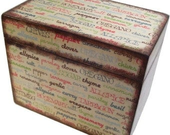 Wooden Recipe Box, Personalized Recipe Box, Couples Gift, Gift for Her, Spices, Storage Organization, Holds 4x6 Cards, MADE TO ORDER