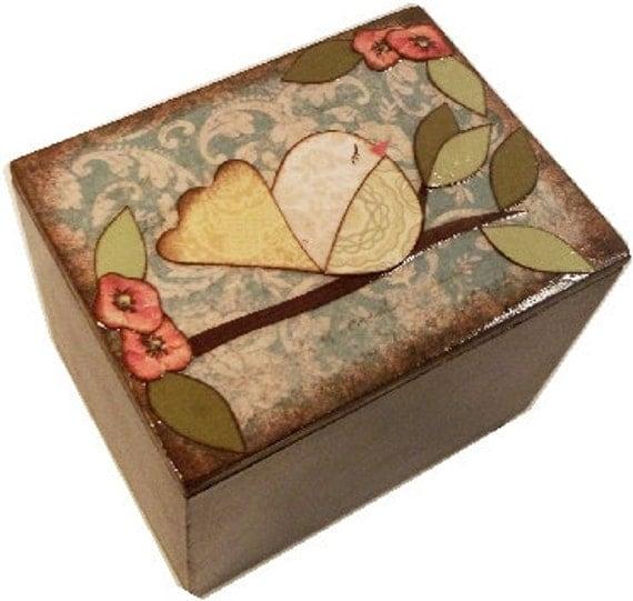 Keepsake Box Trinket Box Treasure Box  READY TO SHIP  Small Jewelry Bird Box