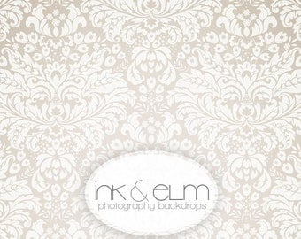 "Vinyl Photography Backdrop 6ft x 6ft, Photo Backdrop White & Cream Damask, Vintage Pattern Damask Backdrop, newborn photo prop,, ""Elegance"""