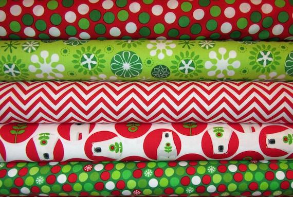 5 Fat Quarters  Brrr Polar Bear Nordic Winter Holiday, Chevron Stripes, Dots, Christmas Fabrics