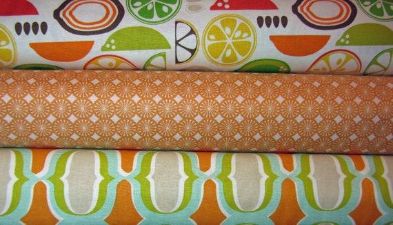 Kitchy Kitchen Fruits Geometrics,  Blend Fabrics, 1/2 yard each, 1.5 yards  Sale