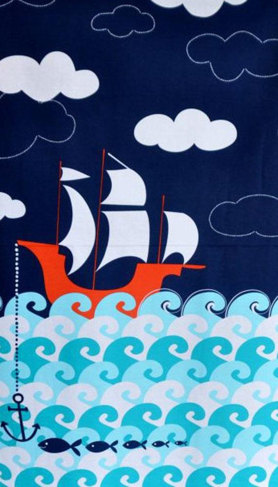 Ahoy Matey Point of Sail Making Waves Ships Nautical Panel  Michael Miller Fabrics