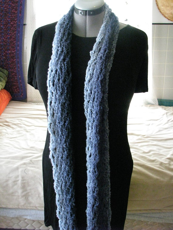 Long Mesh Crocheted Blue and Dark Blue scarf