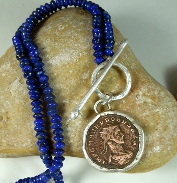 TWENTY FIVE PERCENT Sale Ancient Roman coin and Lapis lazuli stone and sterling silver necklace necklace
