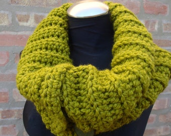 Lemongrass Green Cowl - Crochet Scarf NeckwarmerFrom KnottyLoop