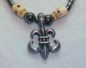 Bone and Hematite Fleur De Lis Necklace