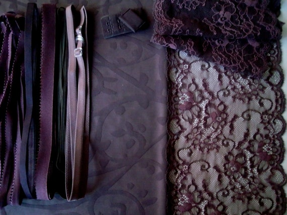 Fabric and notions Mauve & Brown for 1 BRA and BRIEF by Merckwaerdigh