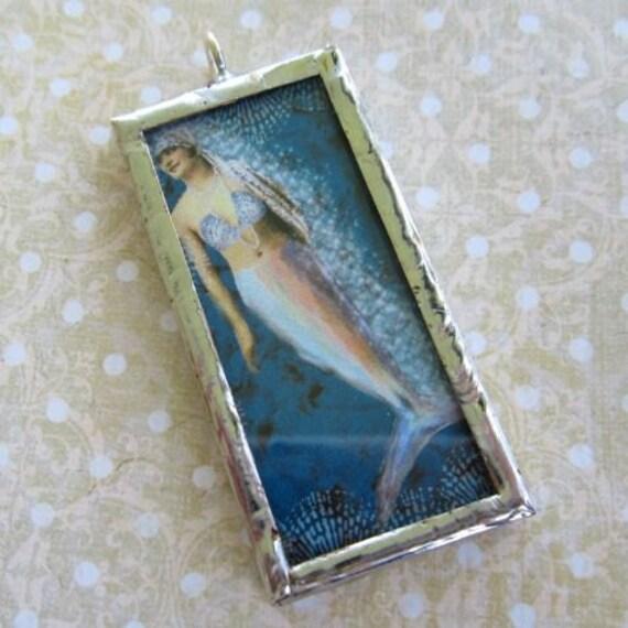 SALE HALF OFF Hand Soldered Mermaid Charm Pendant