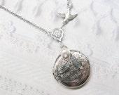 ORIGINAL Silver Locket Necklace - Silver PEARL LOCKET - Round Locket - Jewelry by BirdzNbeez -  Wedding Birthday Bridesmaids Gift