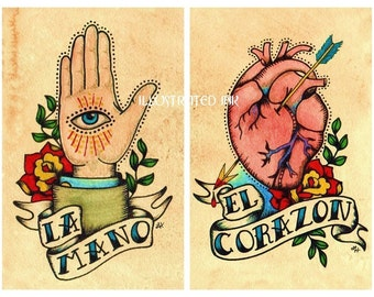 Old School Tattoo Art Prints Loteria LA MANO & El CORAZON 5 x 7, 8 x 10 or 11 x 14 Set