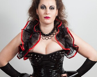 Pvc & Spikes Overbust Corset in black, red or white.