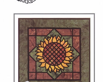 The Sunflower Wall Hanging Pattern Designed by Three Swans Studios A Stained Glass Applique Pattern