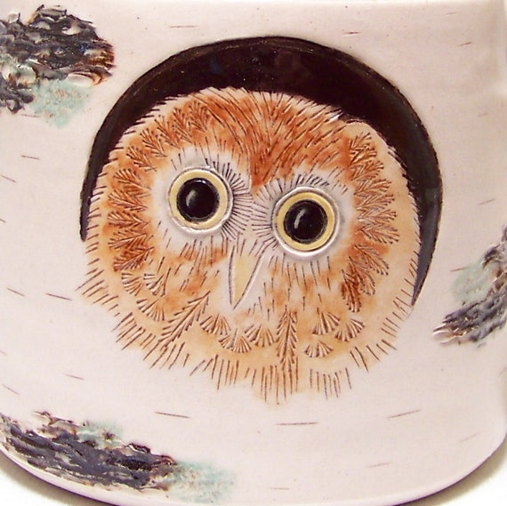 Owl Baby and Birch Pottery Coffee Mug Limited Series 41 (microwave safe) 12oz white stoneware