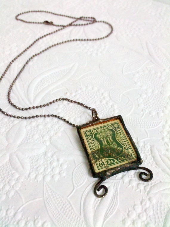 Vintage Stamp Necklace, Whimsical Stamp Necklace, Soldered Stamp Pendant, Stamp Jewelry, Vintage Stamp Pendant, Quirky Eclectic Jewelry