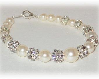Bridal Bracelet, Wedding Bracelet, Pearl Rhinestone Bracelet, Ivory Pearl Bracelet, Swarovski Jewelry