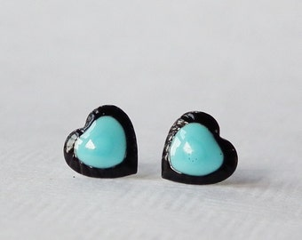 Valentines Day Light Blue cute Two Tone Tiny Heart Stud Earrings, 925 Sterling Silver Earrings, Gift under 10 - 7 mm