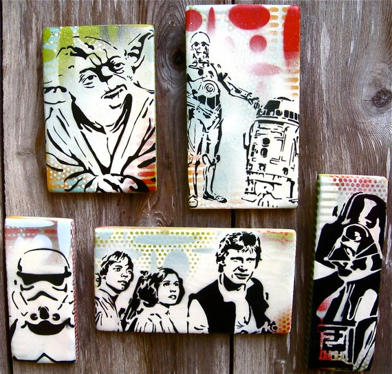 The Good , The Bad and The Wise...Set of Five Original Paintings Graffiti Style Pop Art on Wood Panel