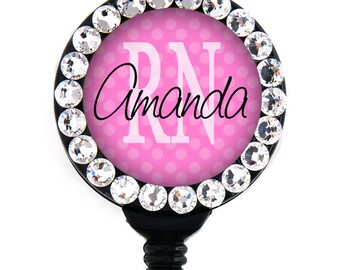 Retractable ID Badge Holder - Personalized RN and other abbreviations Pink - Swarovski Rhinestones