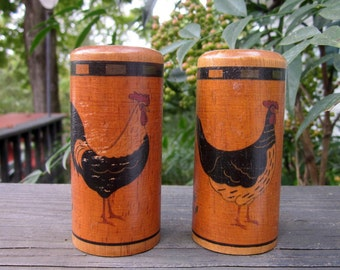 Vintage Wooden Salt and Peppers - Roosters