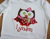 Custom owl applique reserved for lyndensmom