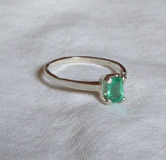 6mm x 4.5mm emerald cut .63 colombian emerald sterling silver ring size 8
