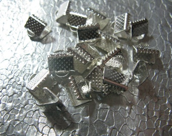 Silver Plated Ribbon Crimp Ends 10 - 8mm Cord Ends Bead Findings