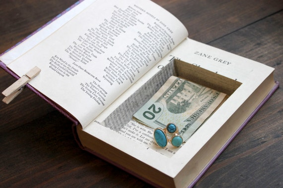 hollow book safe ''the shepherd of guadaloupe'' - small secret stash book with pretty purple cover