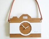Leather, Camera Clock, Modern Wall Decor, Gift