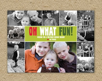 Oh What Fun! Christmas card photo collage, Christmas Photo card, personalized holiday card, family photos