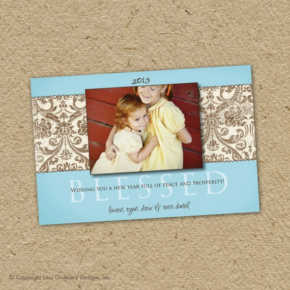 happy new year photo card, custom, blessed