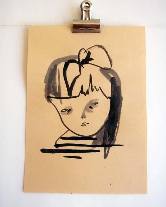 original drawing- vintage girl
