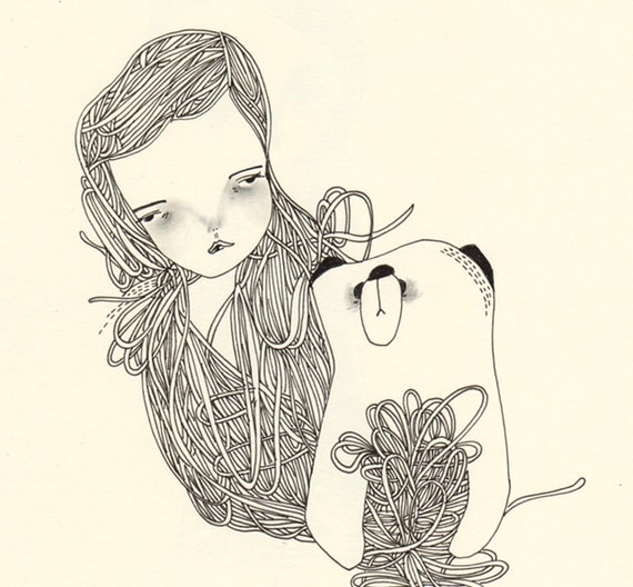 original drawing illustration- the girl and the bear