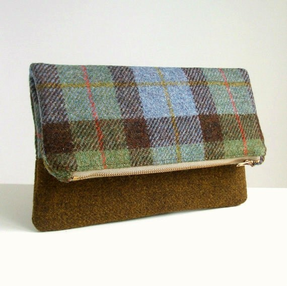 Harris Tweed Foldover Clutch - Two Tone Envelope Bag - Macleod Check and Golden Brown Weave