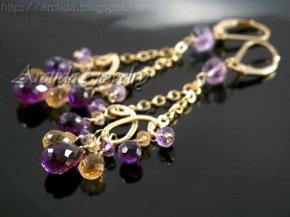 Chandelier earrings Citrine Amethyst earrings 14K gold filled fine jewelry chandeliers purple violet lilac yellow gemstone - Domani