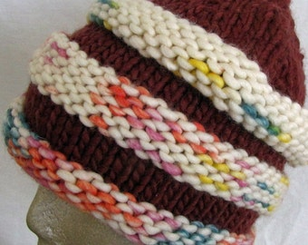 Hat Winter Women Men Girls Fashion Rust Color Circles in Lighter Multicolors with or without Pompon