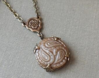 Vintage German Glass Button Necklace- Paisley