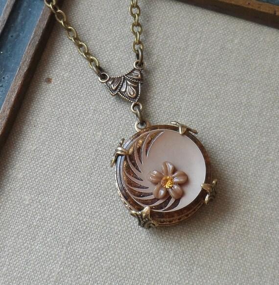 Vintage  Button Necklace - Butter