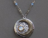 Silver Locket Necklace . Blue Moon And Stars . Celestial Sky . Jewelry By BlissDayDesigns