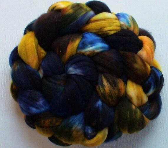 Wool roving hand dyed superwash superfine merino wool 4ozs River Gold