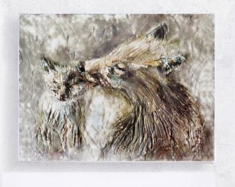 Fox Art - Fox Print - Fantastic Mrs. Fox - 5x7 Canvas Print on Wood Block  - Nursery wall Art - Forest Animal - Woodland Wall Art