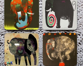 The Elephant in the Room -- Vintage Polish Cyrk (Circus) Posters Mousepad Coaster Set