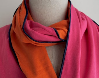 Double Sided Orange and Pink Color Block Jersey Scarf
