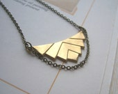 Elegant Deco necklace - golden geometric pendant - triangles with draped chain