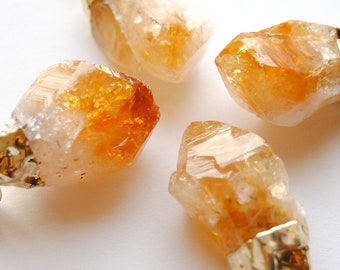 Raw Citrine Crystal Necklace - Small - Gold Plated - FREE US Shipping