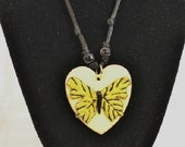 Butterfly Necklace Copper Enameled Heart Butterfly Necklace / lemon yellow butter yellow black / beads / spring