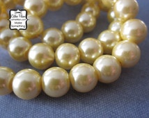 Yellow Pearl Beads - 1 Strand of Pearls - 10mm - Glass - Pastel Blue Green
