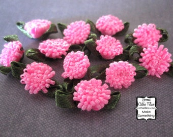Neon Pink Flowers - 12 pcs. Scrapbooking Embellishment, Party Favors, Jewelry Making, Hair Bows
